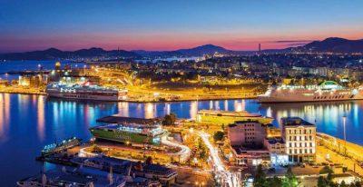 Piraeus port night view